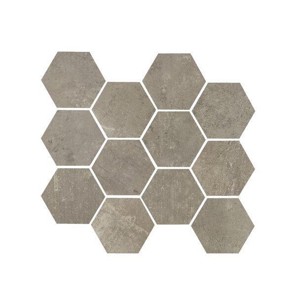 Hex 3.25 x 3.25 Porcelain Mosaic Tile in Argento by Madrid Ceramics