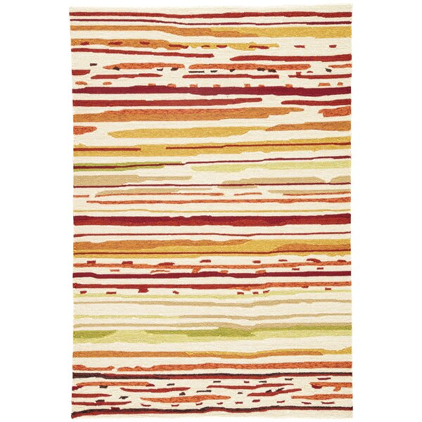 Angelina Hand-Hooked Red/Orange Indoor/Outdoor Area Rug by Latitude Run