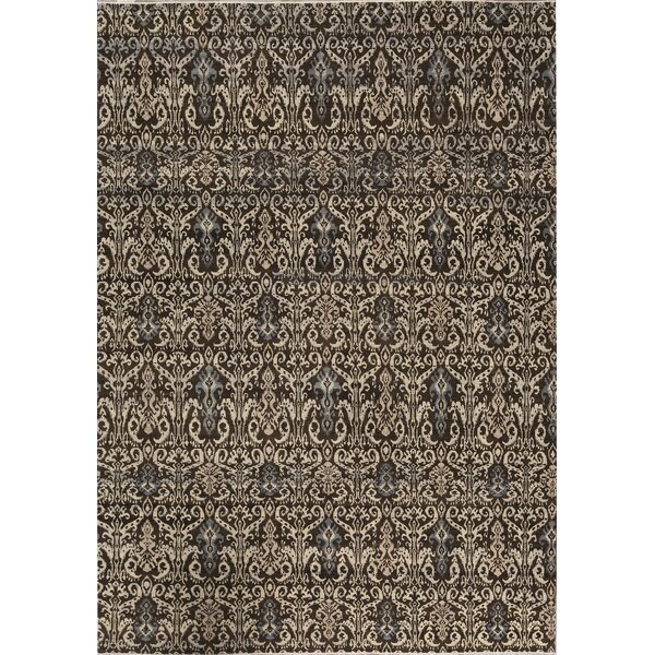 One-of-a-Kind Ikatville Hand-Knotted Black/Beige 10' x 13'11 Area Rug