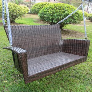 Barnet Contemporary Resin Wicker Porch Swing