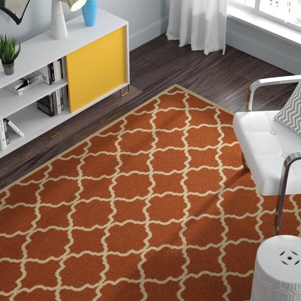 Heidy Geometric Orange/Ivory Indoor/Outdoor Area Rug by Zipcode Design