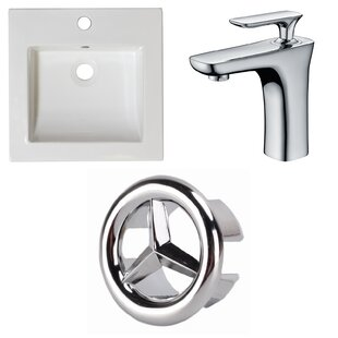 Find for 1 Hole Ceramic Rectangular Drop-In Bathroom Sink with Faucet and Overflow ByAmerican Imaginations