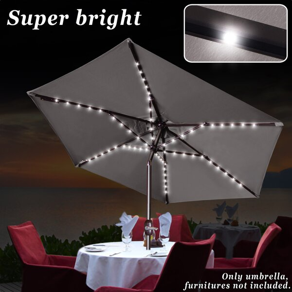 Patio Solar Powered LED Light Poolside Crank Tilt Garden Market Umbrella by Sunrise Outdoor LTD