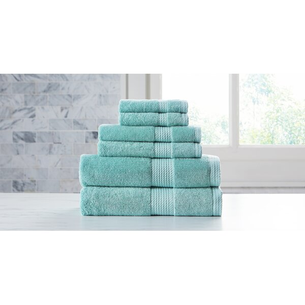 Leisha Extravagant 6 Piece Cotton Bath Towel Set by Ebern Designs