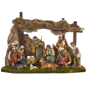 11 Piece Nativity Figures and Stable Set
