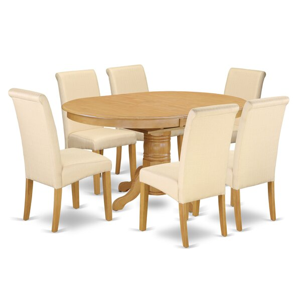 Park Row Oval Room Table 7 Piece Extendable Solid Wood Dining Set by Charlton Home