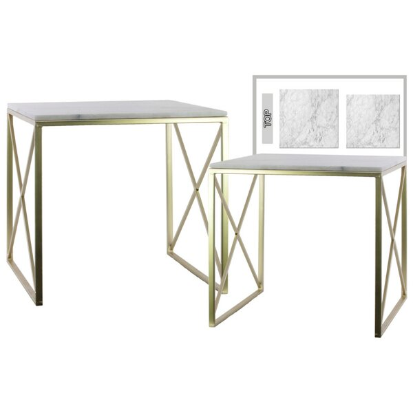 Cheetham Crisscross 2 Pieces Nesting Tables with Marble Top by House of Hampton