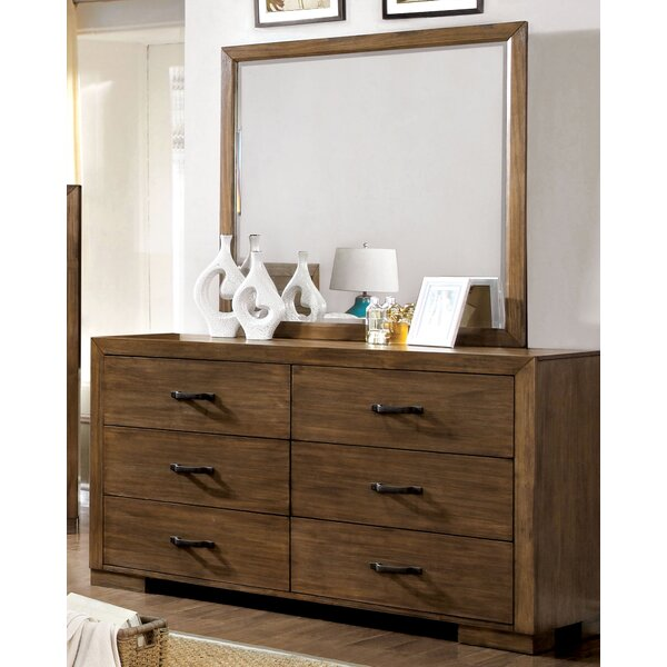 Fort Gibson 6 Drawer Double Dresser with Mirror by Loon Peak
