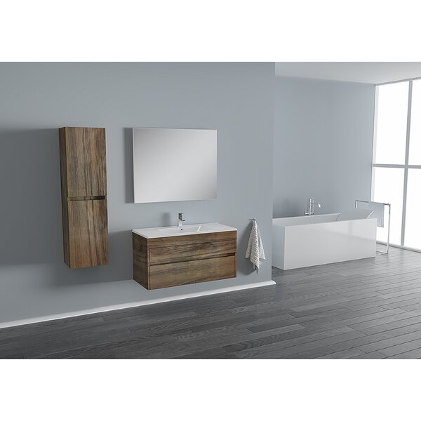 Carey 39 Wall-Mounted Single Bathroom Vanity Set with Mirror by Wrought Studio