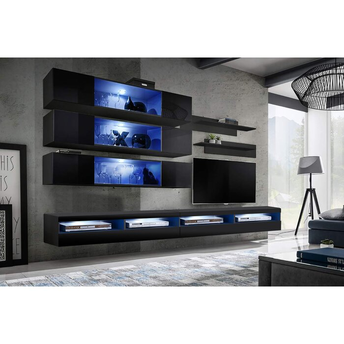 Linton Wall Mounted Floating Entertainment Center For Tvs Up To 90