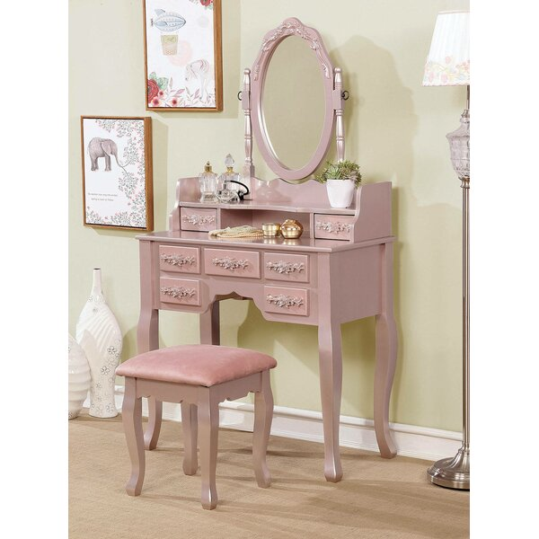 Sheehan Vanity Set with Mirror by Rosdorf Park