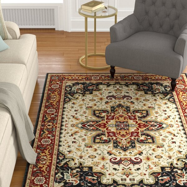 Knighten Medallion Red/Ivory Area Rug by Astoria Grand