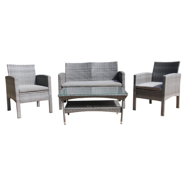 Holladay 4 Piece Rattan Sofa Seating Group with Cushions by Highland Dunes