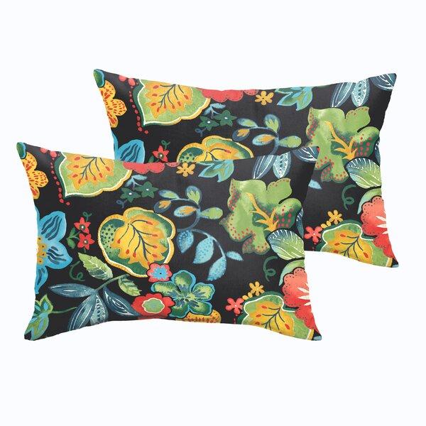 Gilson Floral Indoor/Outdoor Lumbar Pillow (Set of 2) by Red Barrel Studio