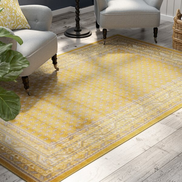 Gillam Yellow Area Rug by Three Posts