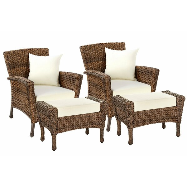 Lanier 4 Piece Patio Chair Set with Cushions (Set of 2) by Bayou Breeze Bayou Breeze