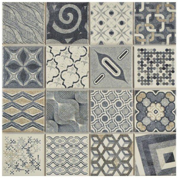 Cien 9.75 x 9.75 Porcelain Field Tile in Gray/Blue by EliteTile
