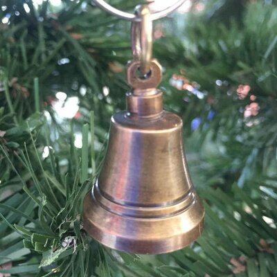 Handcrafted Nautical Decor Bell Christmas Ornament Colour: Antique Brass
