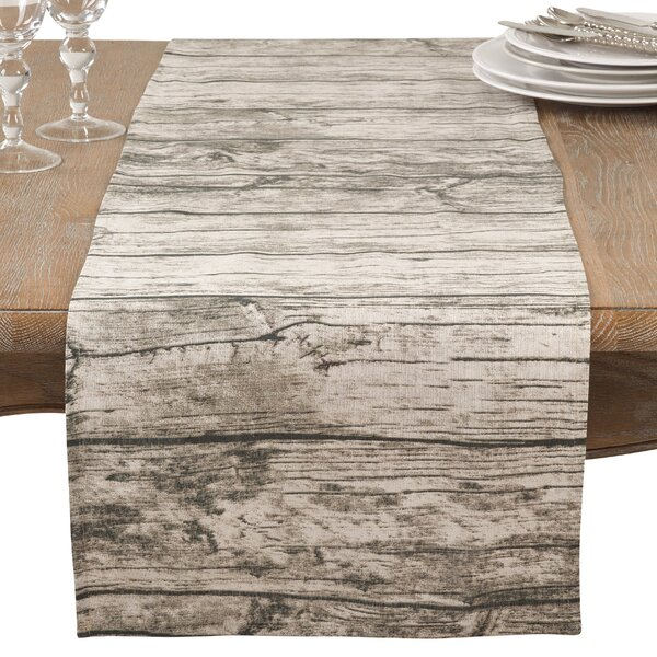 Ald Wood Plank Floor Pattern Cotton Table Runner by Union Rustic