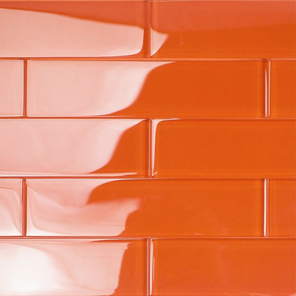 Contempo 2 x 8 Glass Subway Tile in Flame by Splashback Tile