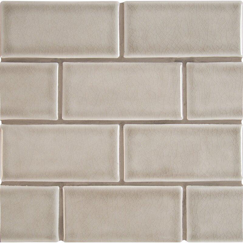 3 X 6 Ceramic Subway Tile In Dove Gray
