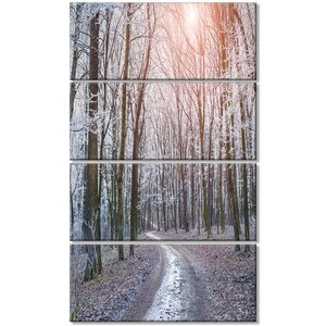 'Misty Trail in Autumn Forest' 4 Piece Photographic Print on Wrapped Canvas Set by Design Art
