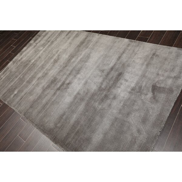 Hraztan Handmade Tufted Wool Dark Gray Area Rug