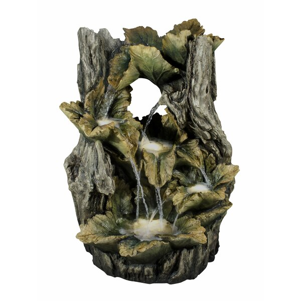 Resin Leaves in Tree Trunk Fountain with Light by Hi-Line Gift Ltd.