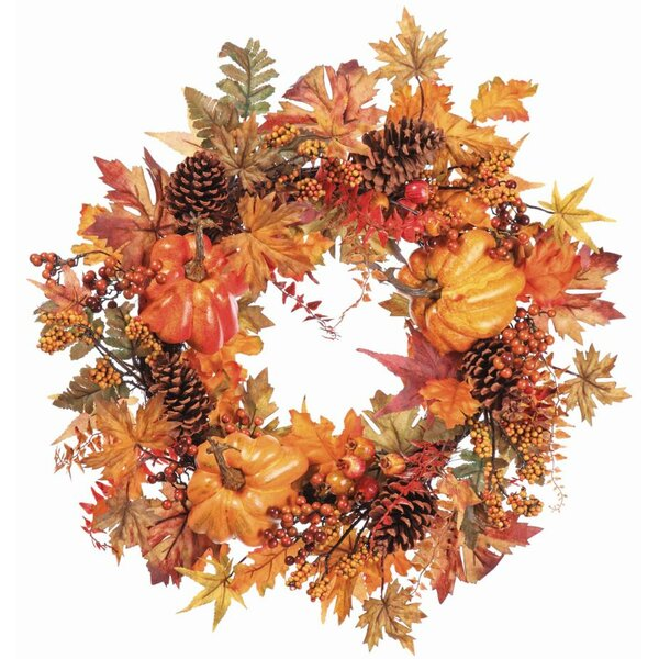 Pumpkin Pine Cone 24 Wreath by The Holiday Aisle