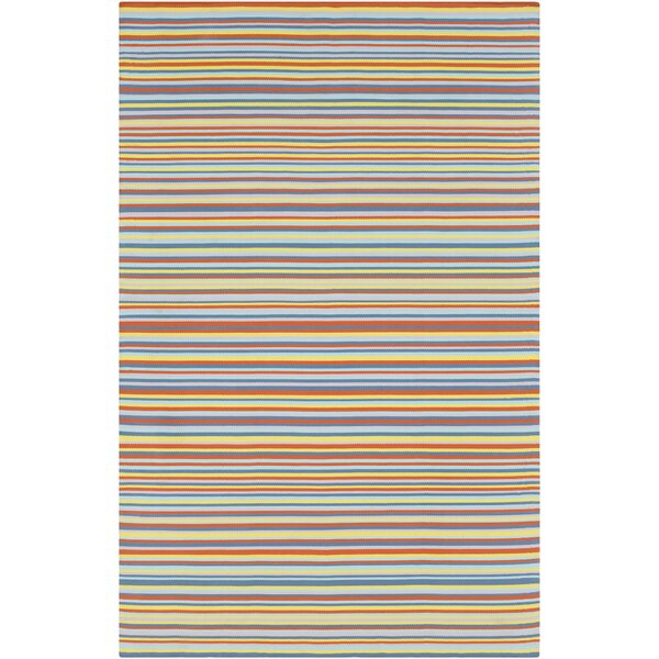 Bybrook Modern Hand Woven Orange/Blue Area Rug by Rosecliff Heights