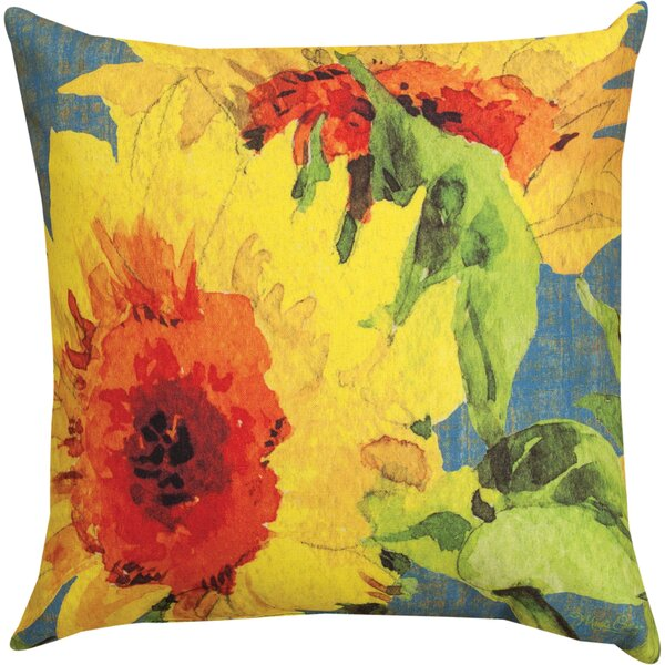 Sunflower Knife Edge Throw Pillow by Manual Woodworkers & Weavers