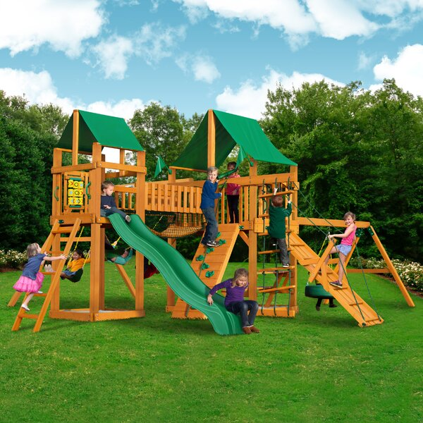 Pioneer Peak with Amber Posts and Canopy Cedar Swing Set by Gorilla Playsets