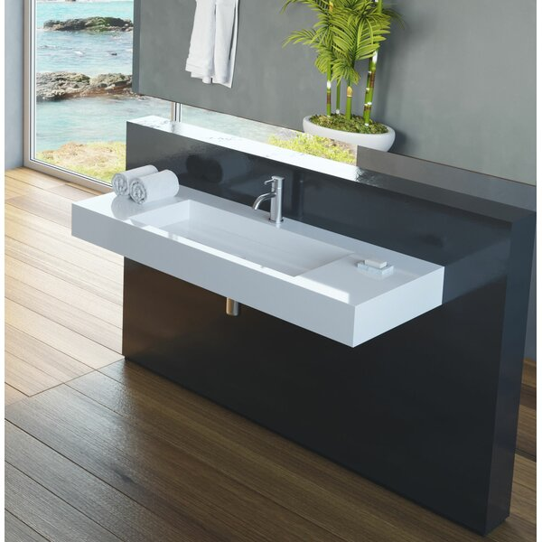 Polymarble 47 Wall Mount Bathroom Sink with Overflow