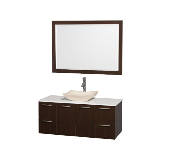 Amare 48 Single Espresso Bathroom Vanity Set with Mirror by Wyndham Collection