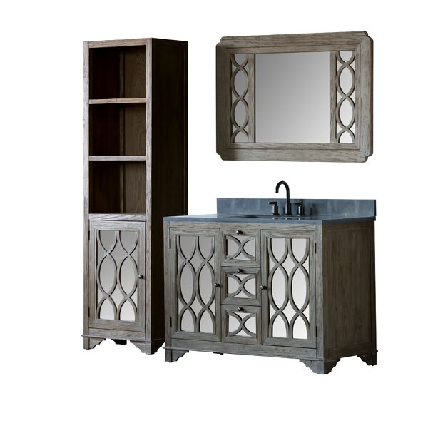 Quintana Solid Elm 48 Single Bathroom Vanity Set with Mirror by Rosecliff Heights