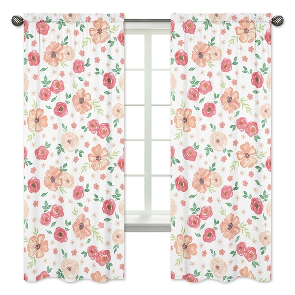Watercolor Floral Semi-Sheer Curtain Panels (Set of 2) by Sweet Jojo Designs