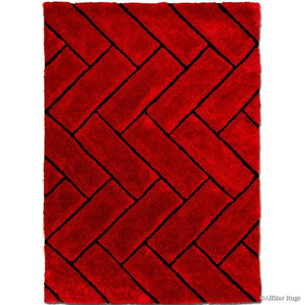 Hand-Tufted Red Area Rug by AllStar Rugs