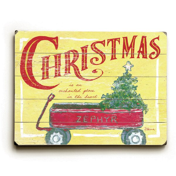 Rectangle Wood Christmas Wagon Vintage Advertisement by The Holiday Aisle