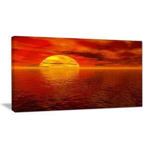 Sun Falling to Yellow Ocean Large Seashore Photographic Print on Wrapped Canvas by Design Art