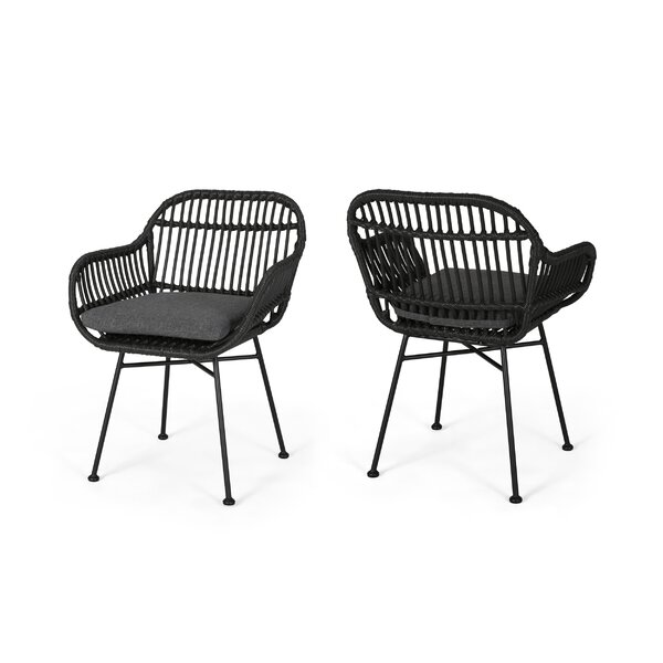 Maspeth Outdoor Woven Patio Chair With Cushion (Set Of 2) By Bungalow Rose