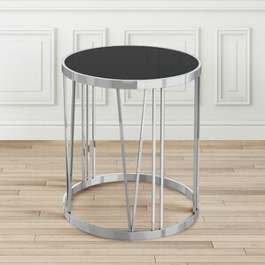 Joycelyn Glass End Table by Orren Ellis