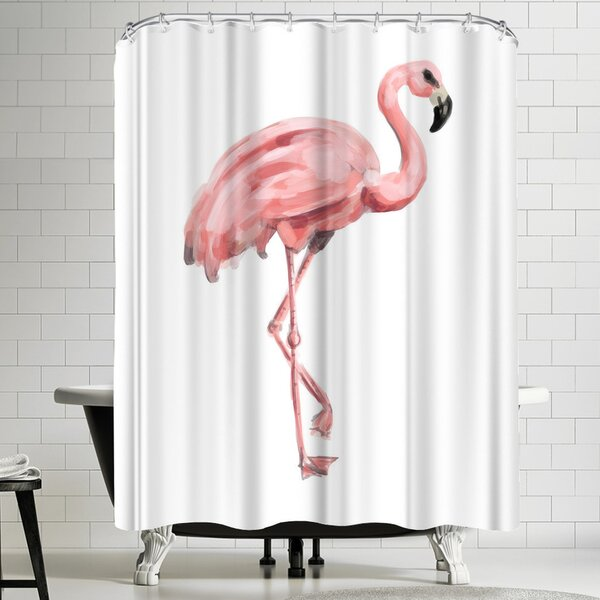 East Urban Home Jetty Printables Pink Painted Flamingo Shower Curtain