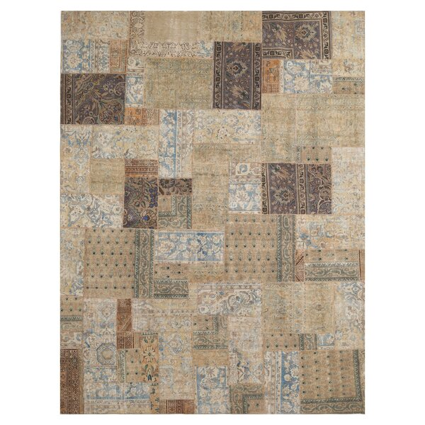 One-of-a-Kind Constance Patchwork Hand-Knotted Wool Beige/Blue Area Rug by Isabelline