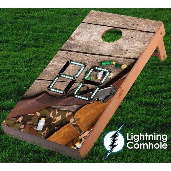 Electronic Scoring Gun and Camo Cornhole Board by Lightning Cornhole