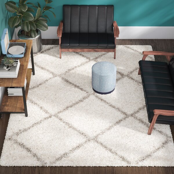 Duhon Ivory/Gray Shag Area Rug by Mercury Row