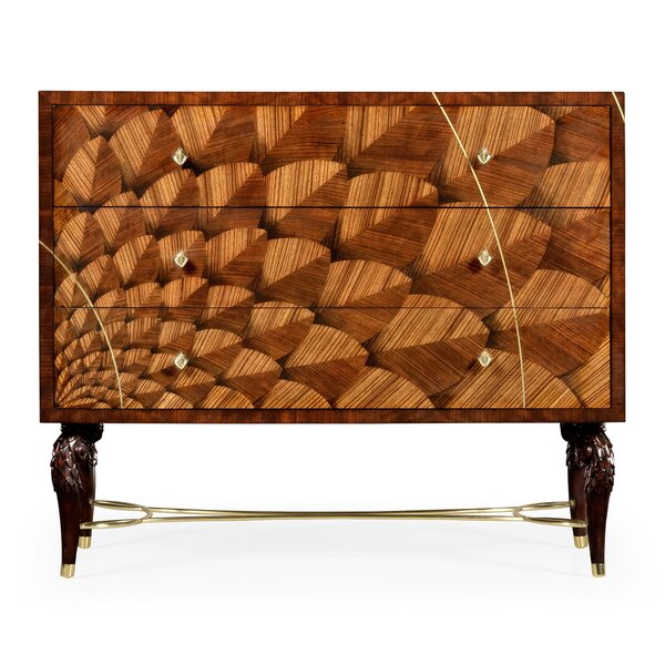 Icarus Feather Inlay 3 Drawer Accent Chest by Jonathan Charles Fine Furniture