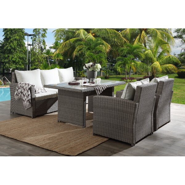 Obannon 4 Piece Patio Sectional Seating Group with Cushions