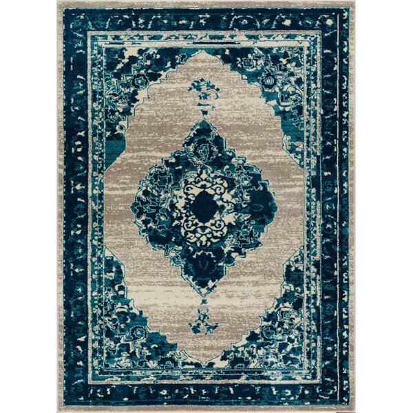 Binstead Modern Distressed Vintage Power Loom Blue Area Rug by Bungalow Rose