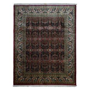 Slagen Oriental Hand Woven Rectangle Wool Red Area Rug