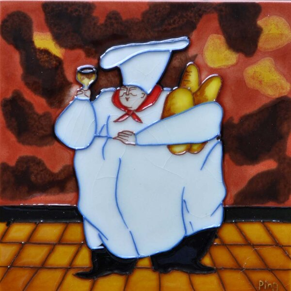 Fat Chef with Bread Tile Wall Decor by Continental Art Center
